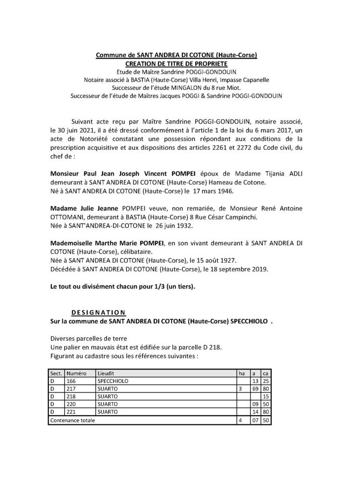 Avis de création de titre de propriété - Commune de Sant Andrea di Cotone (Haute-Corse)