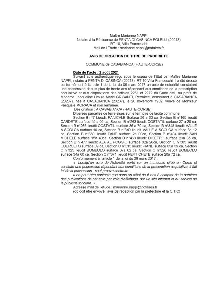 Avis de création de titre de propriété - Commune de Casabianca (Haute-Corse)