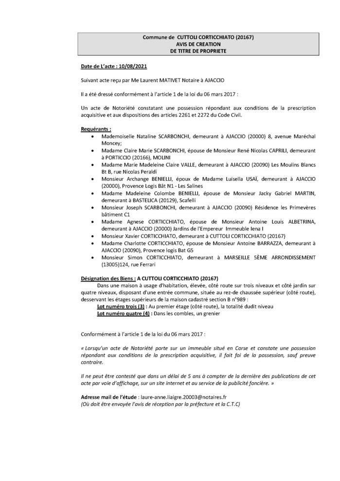 Avis de création de titre de propriété - Commune de Cuttoli Corticchiato (Corse-du-Sud)