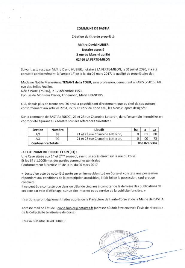Copie de Avis de création de titre de propriété - Commune de Bastia (Haute-Corse)