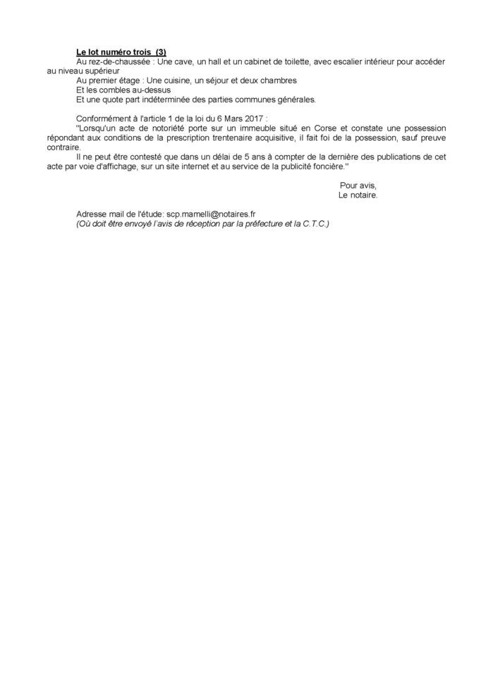 Avis de création de titre de propriété - Commune de Prunelli di Fiumorbu (Haute-Corse)