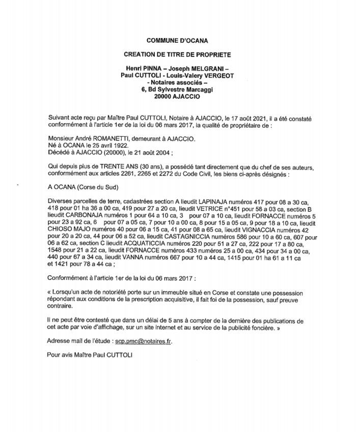 Avis de création de titre de propriété - Commune d'Ocana (Corse-du-Sud)