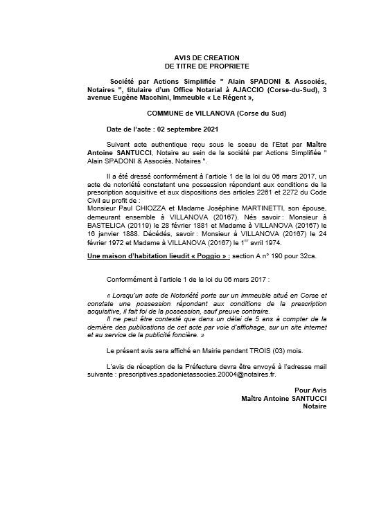 Avis de création de titre de propriété - Commune de Villanova (Haute-Corse)