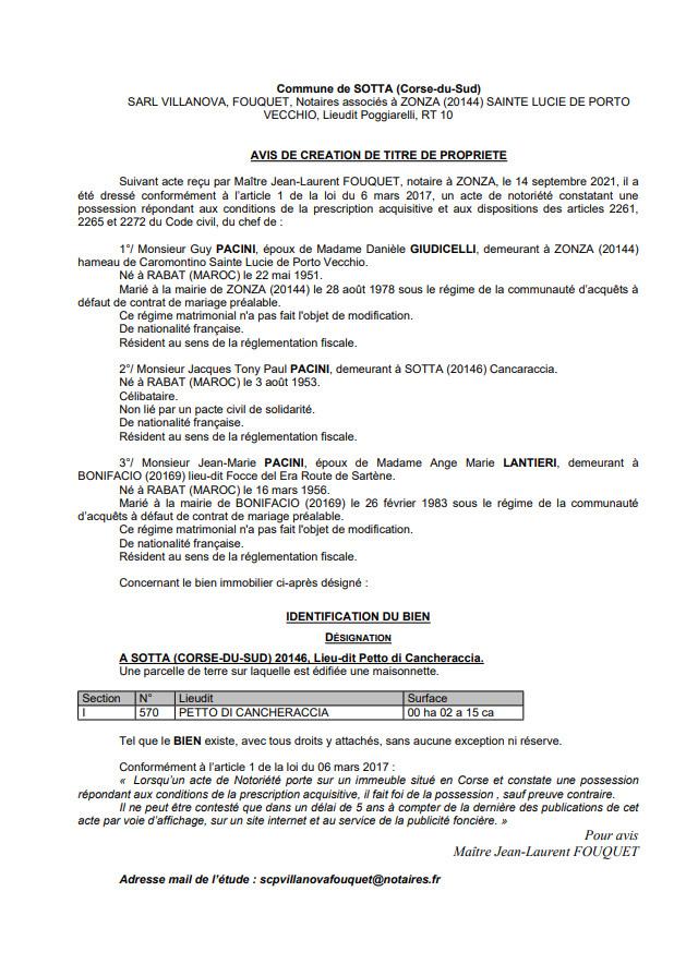 Avis de création de titre de propriété - Commune de Sotta (Corse-du-Sud)
