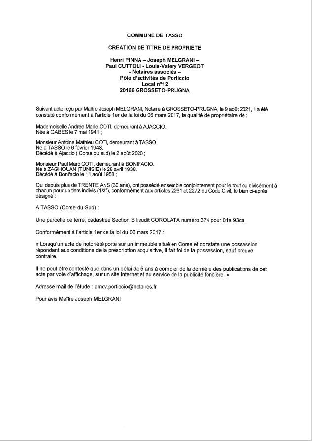 Copie de Avis de création de titre de propriété - Commune de Tasso (Corse-du-Sud)