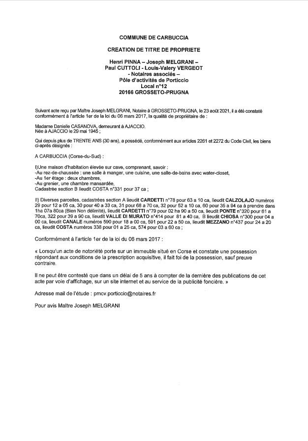 Avis de création de titre de propriété - Commune de Carbuccia (Corse-du-Sud)