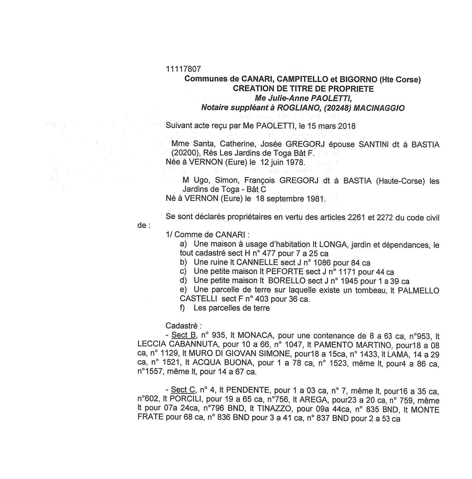 Avis de création de titre de propriété - communes de Canari, Campitello et Bigorno (Haute-Corse)