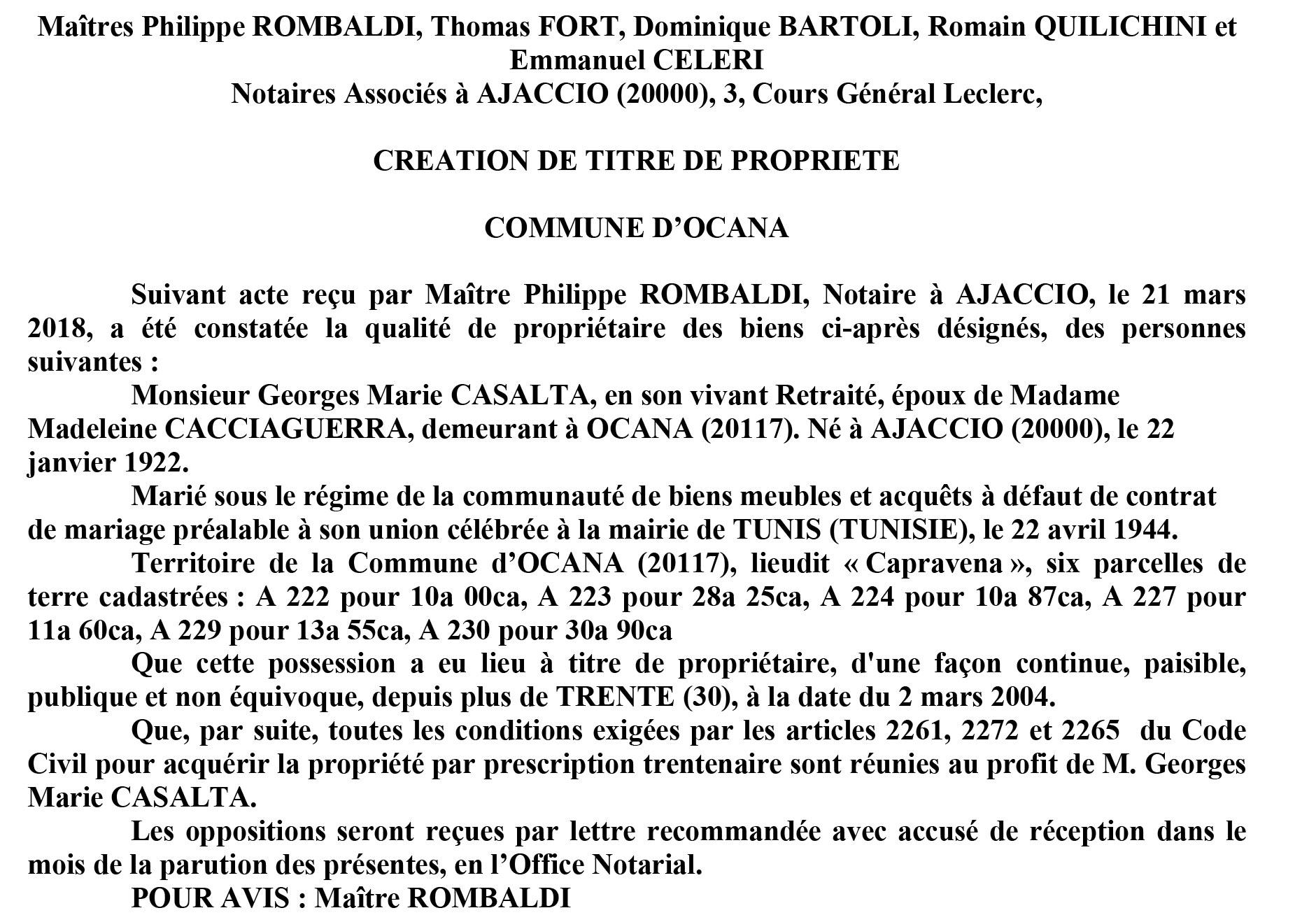 Avis de création de titre de propriété - commune d'Ocana (Corse du Sud)