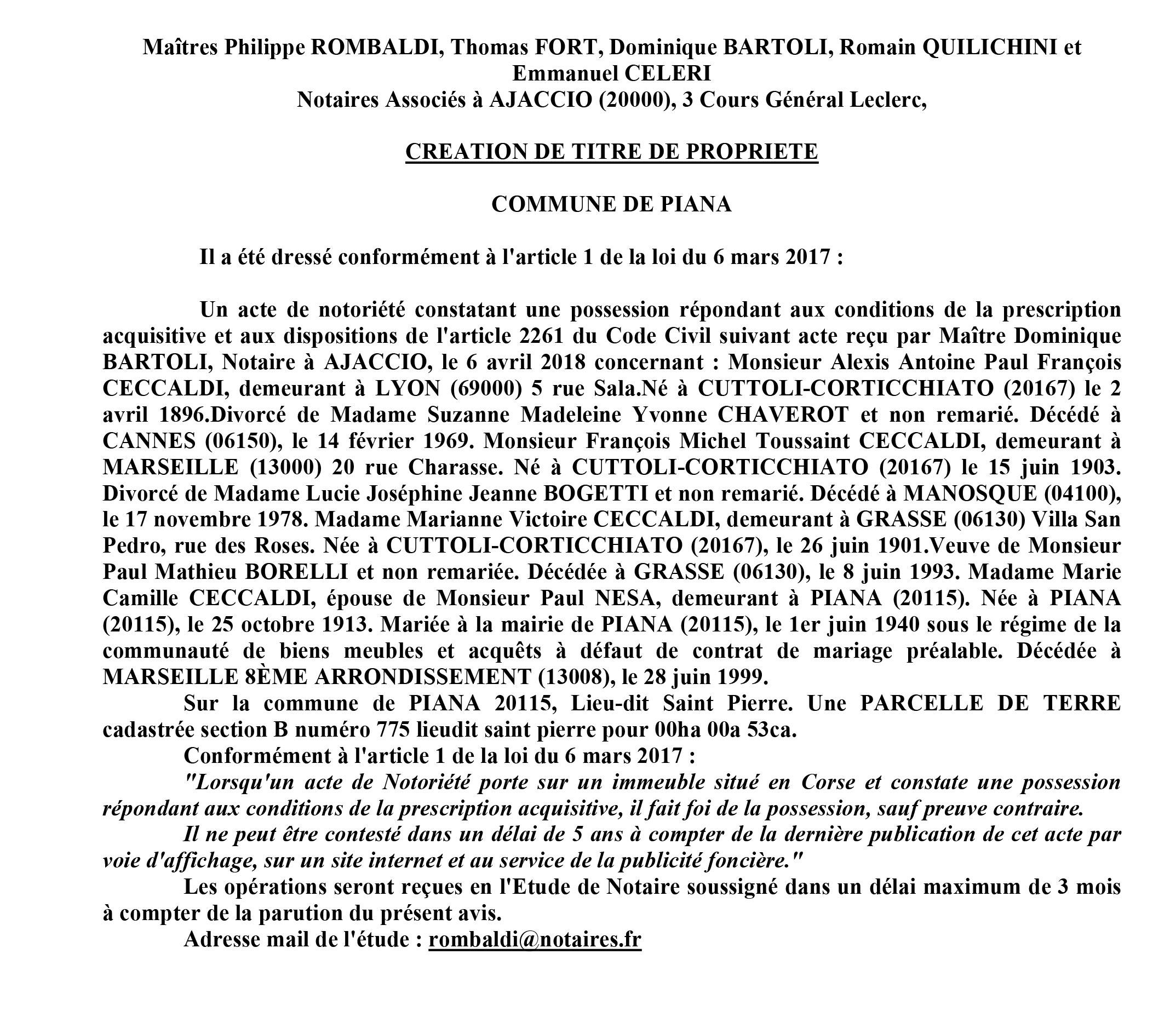 Avis de création de titre de propriété - commune de Piana (Corse du Sud)