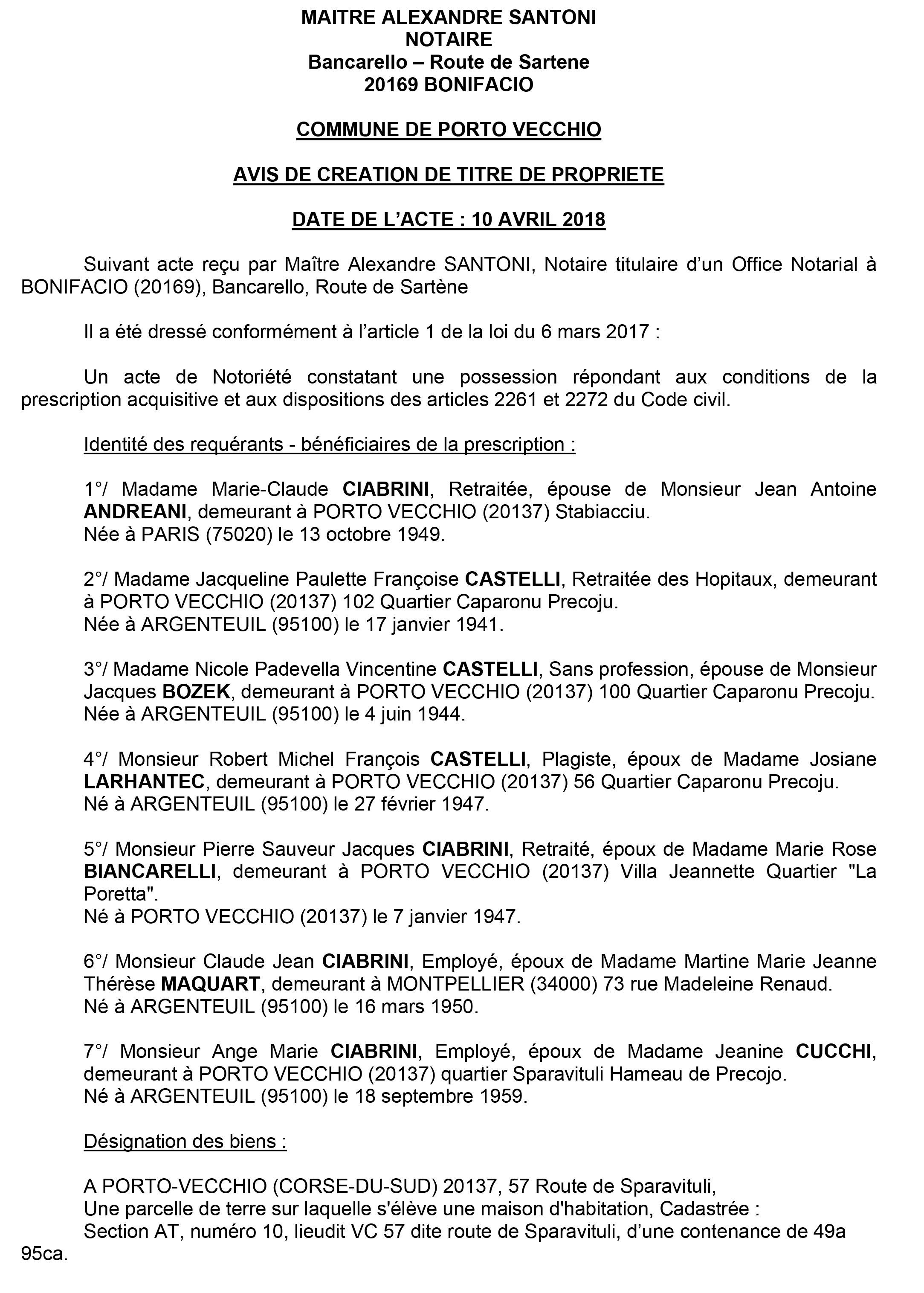 Avis de création de titre de propriété - commune de Porto Vecchio (Corse du Sud)