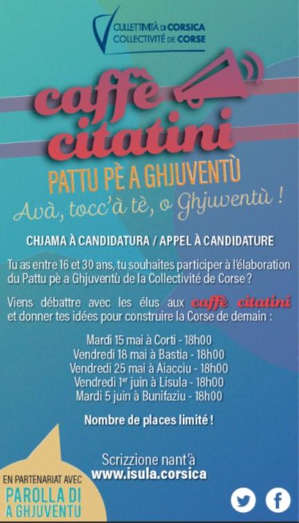 Caffè citatini : Vous avez entre 16 et 30 ans. Vous souhaitez participer à la construction de la politique jeunesse de la Collectivité de Corse et construire la société de demain ? Cet article vous intéresse !