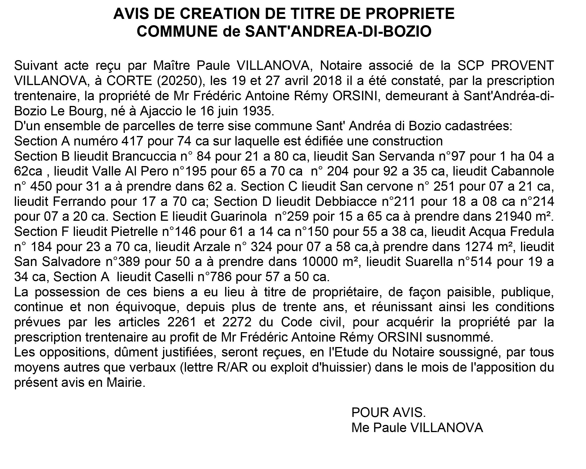 Avis de création de titre de propriété - commune de Sant'Andrea di Bozio (Haute-Corse)