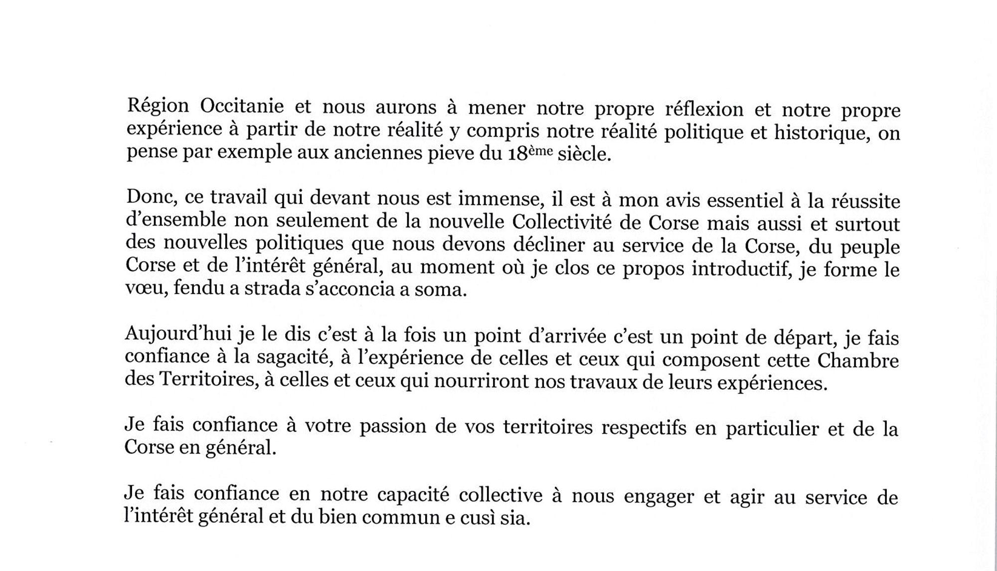 Séance d'installation de la Chambre des Territoires : discours d'ouverture du Président, Gilles Simeoni