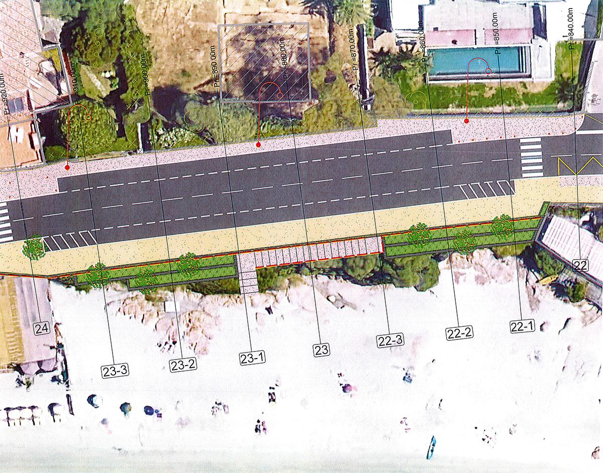 Plan d'amènagement de la zone verte avec mur de soutènement et accès à la plage