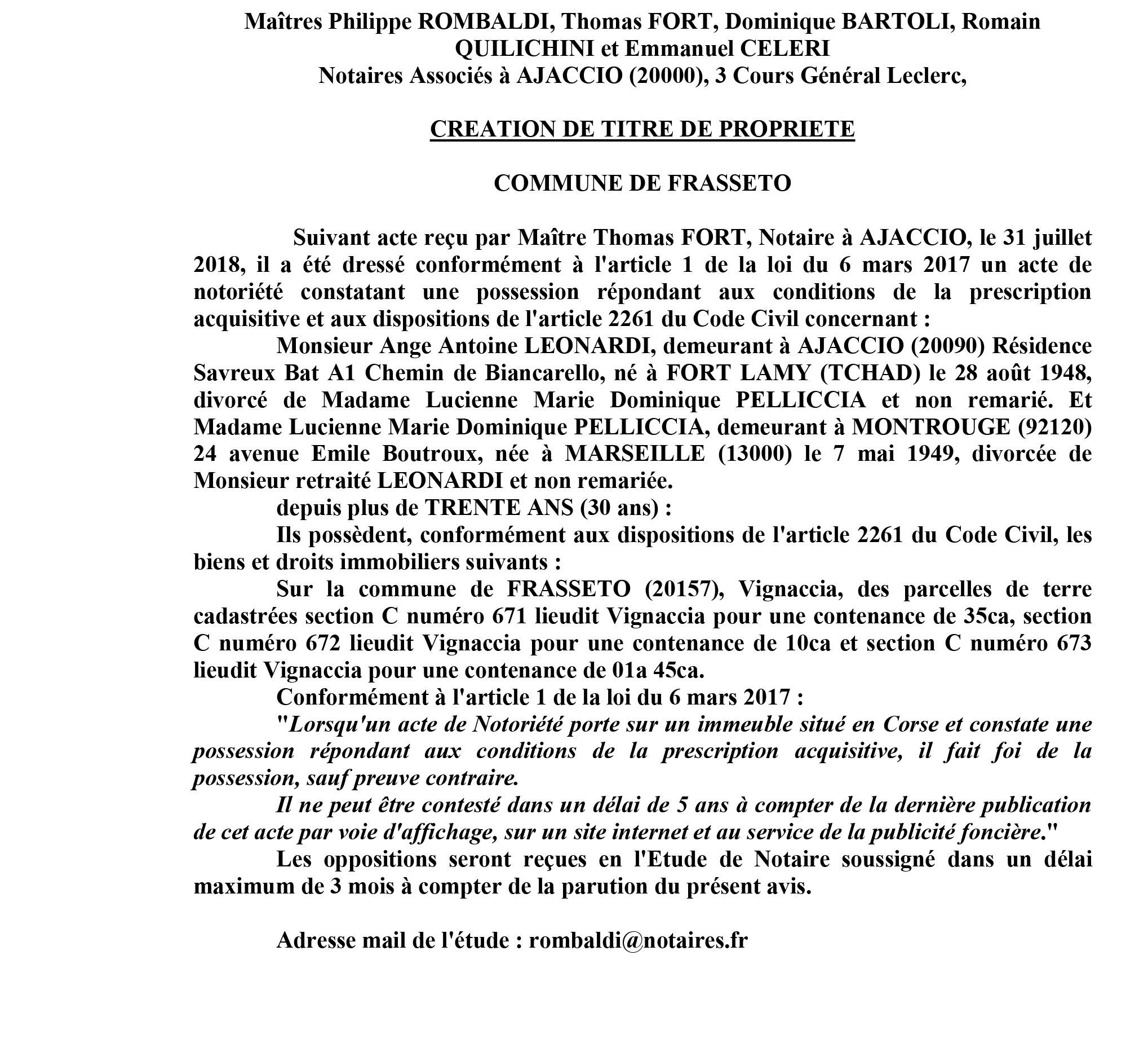 Avis de création de titre de propriété - commune de Frasseto (Corse du Sud)