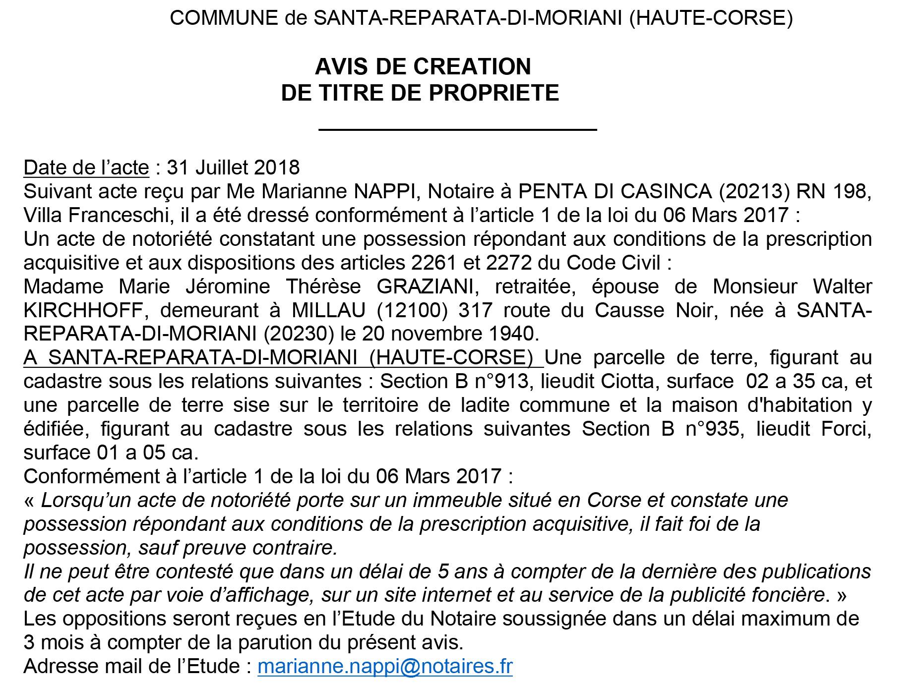 Avis de création de titre de propriété - commune de Santa Reparata di Moriani (Haute-Corse)