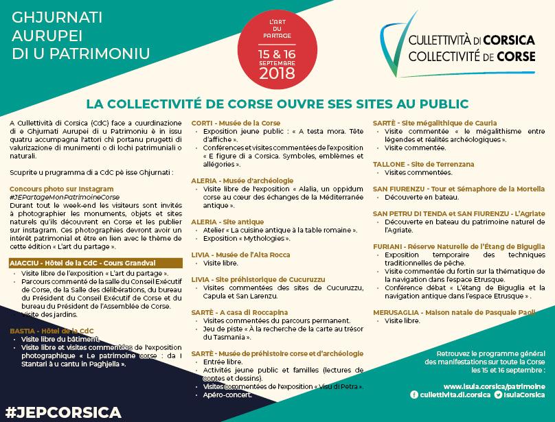 Ghjurnati auropei di Patrimoniu di u 2018 / La Collectivité de Corse ouvre ses lieux patrimoniaux au public : l'Hôtel de la CdC, ses musées, ses sites archéologiques, ses sites et réserves naturels