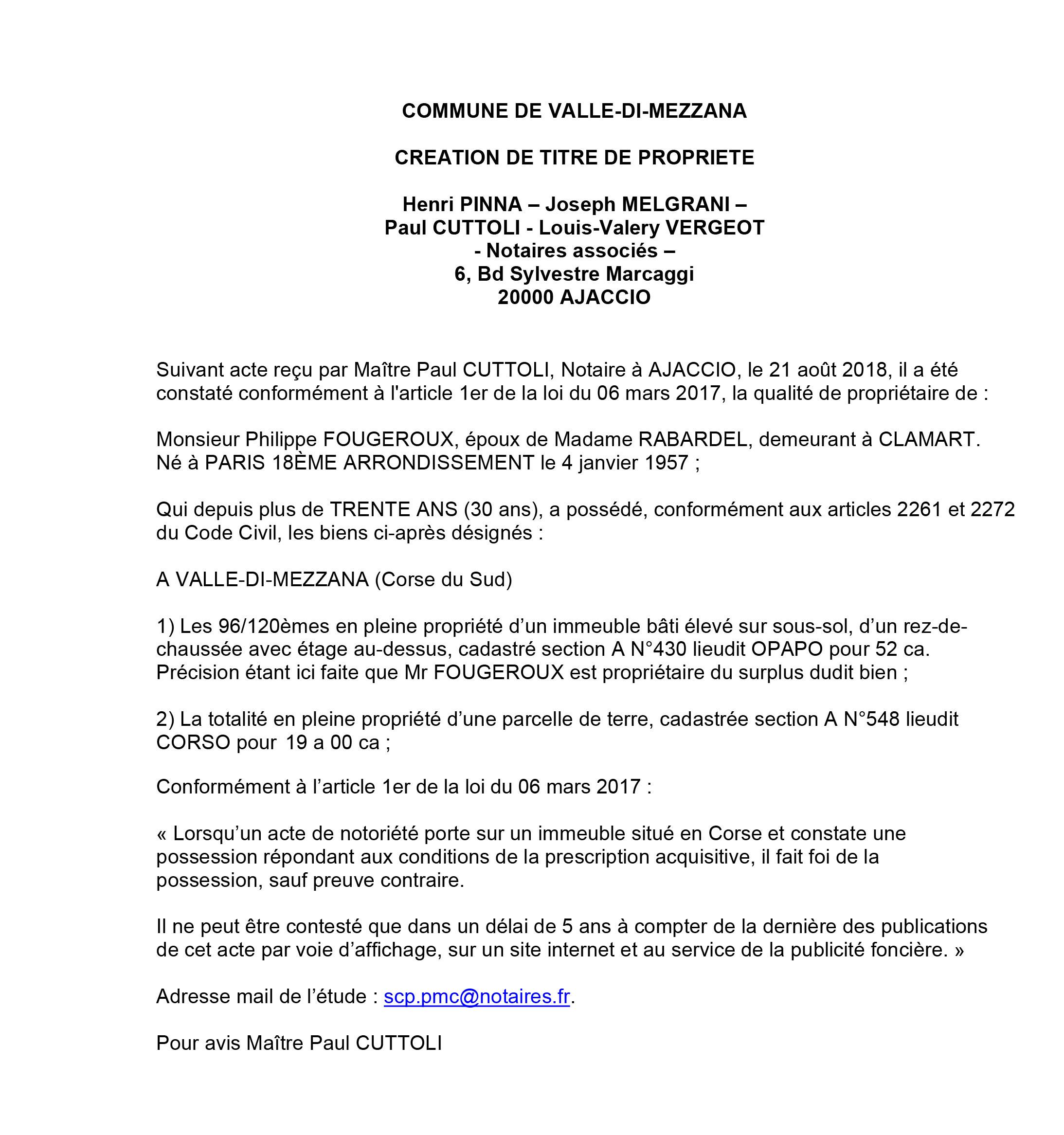 Avis de création de titre de propriété - commune Valle di Mezzana (Corse du Sud)