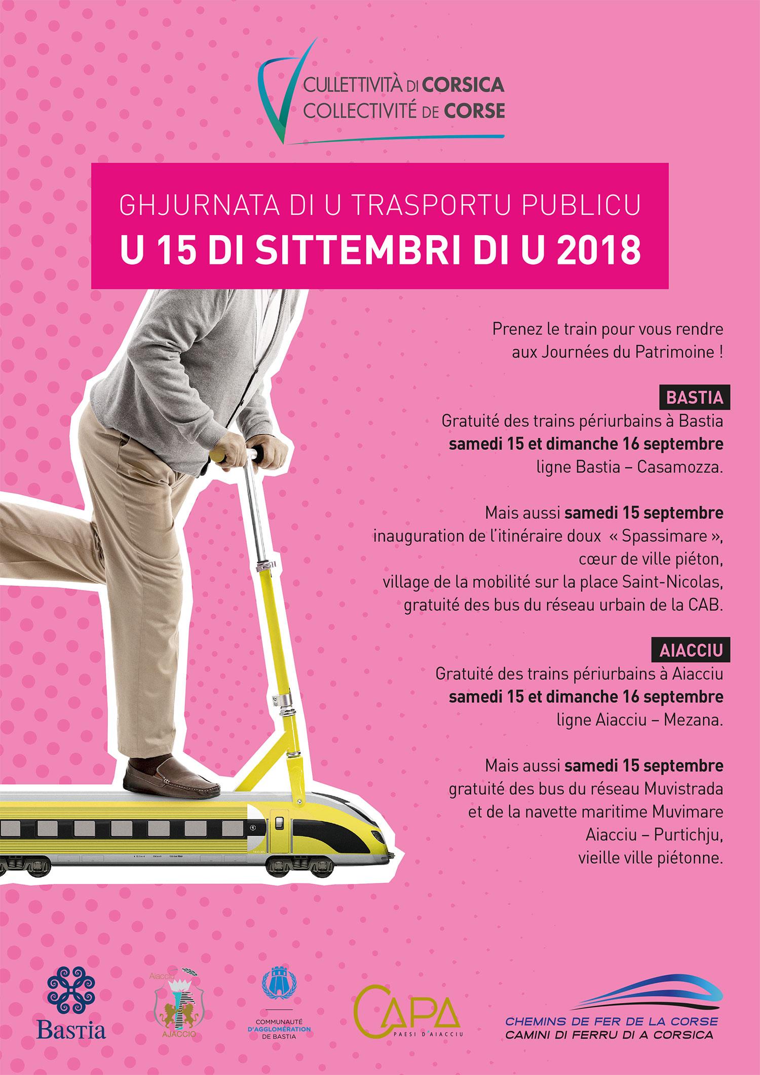 La Collectivité de Corse partenaire de la Journée du transport public / Gratuité des lignes ferroviaires péri-urbaines Aiacciu-Mezana et Bastia-Casamozza tout le week-end