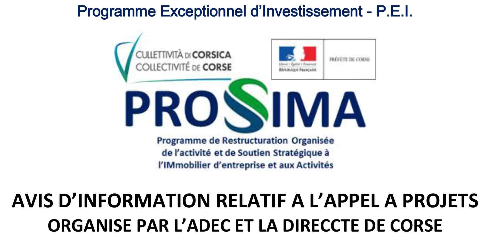 PROSSIMA - avis d'information relatif à l'appel à projets organisé par l'ADEC et la DIRECCTE de Corse