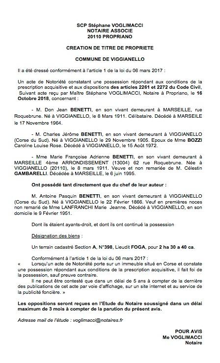 Avis de création de titre de propriété - commune de Viggianello (Corse du Sud)
