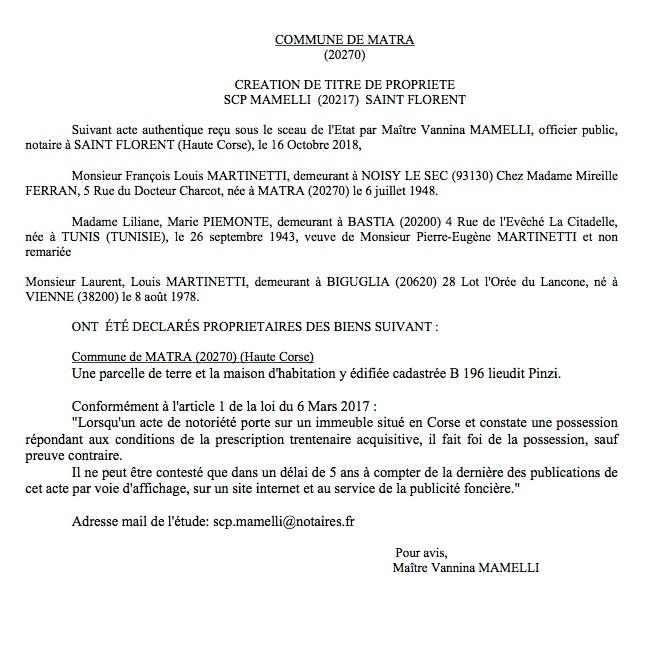 Avis de création de titre de propriété - commune de Matra (Haute-Corse)