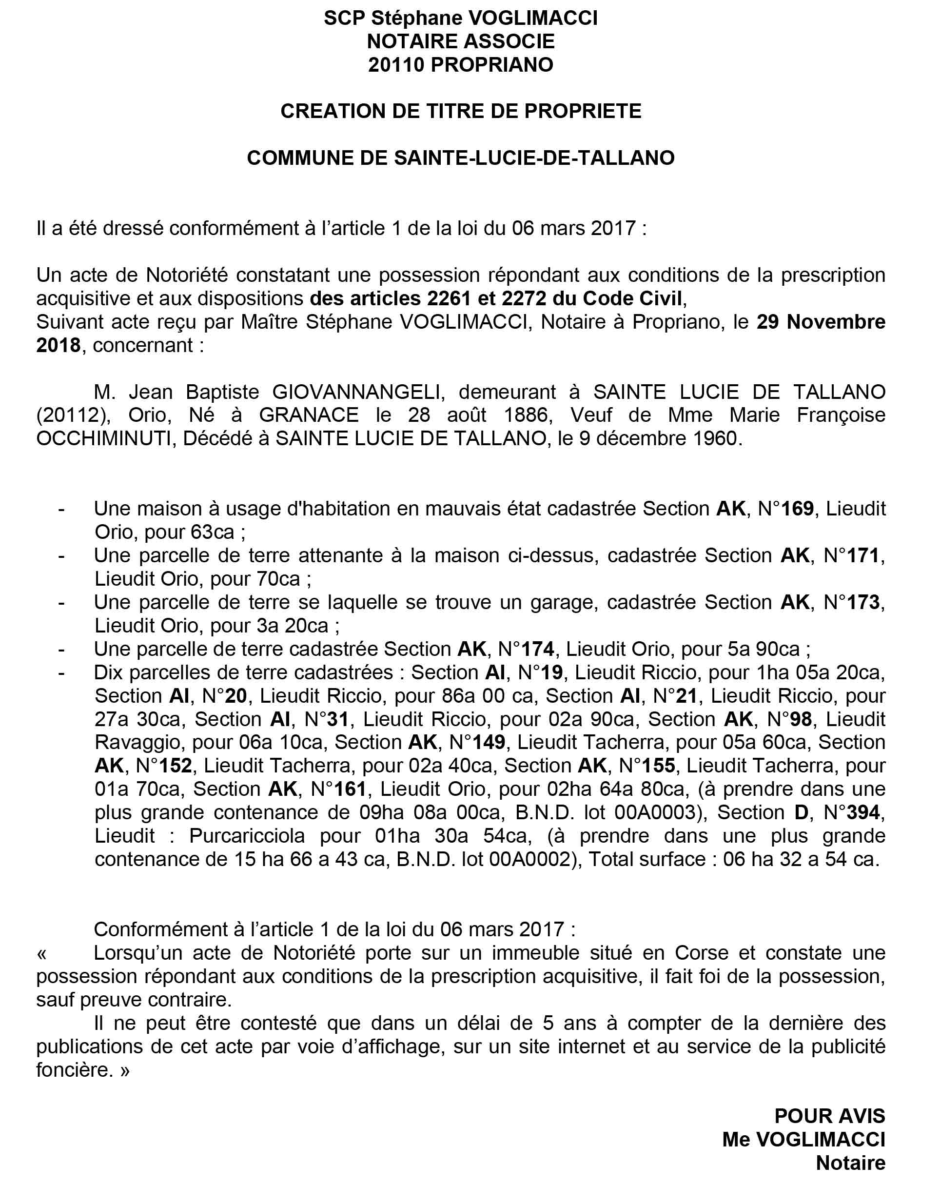 Avis de création de titre de propriété - commune de Sainte Lucie de Tallano (Corse du Sud)