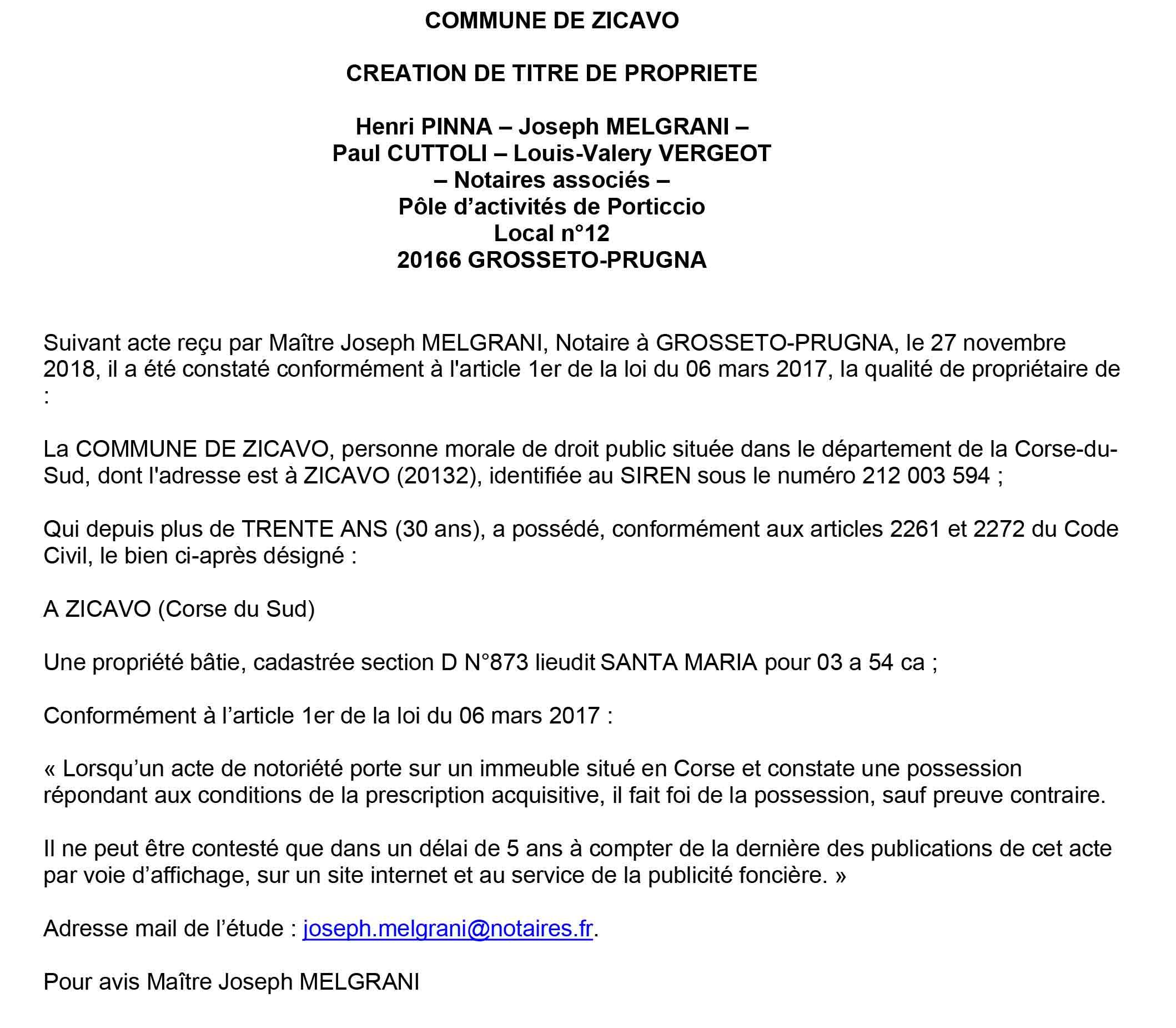 Avis de création de titre de propriété - commune de Zicavo (Corse du Sud)