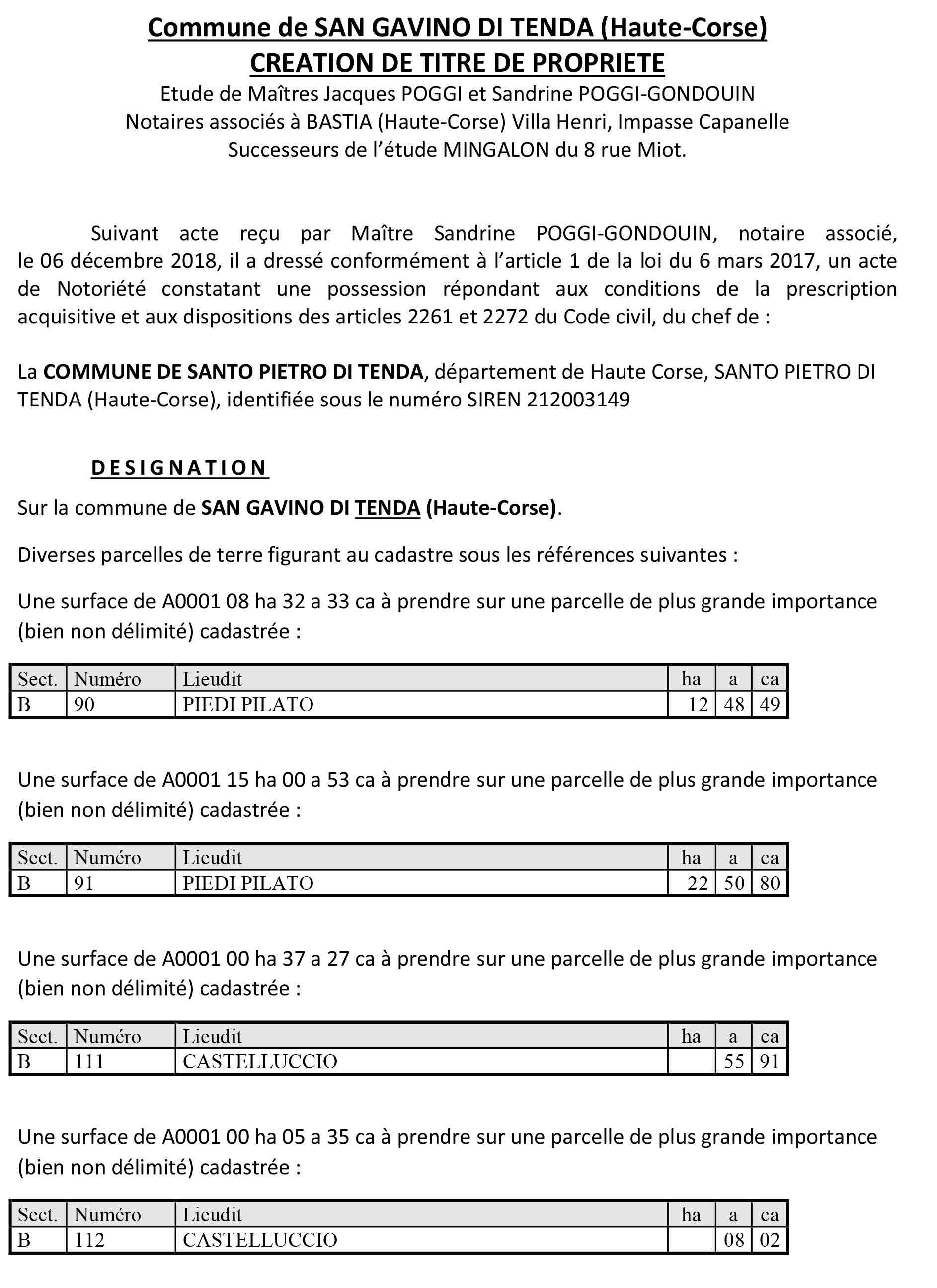 Avis de création de titre de propriété - commune de San Gavino di Tenda (Haute-Corse)