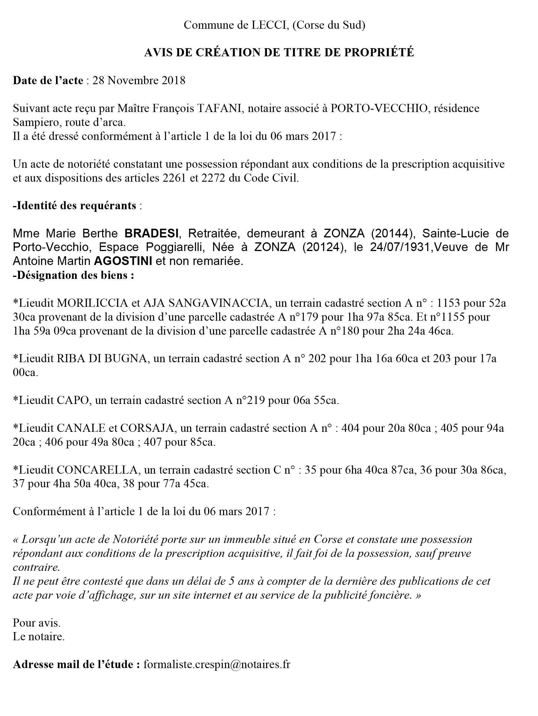 Avis de création de titre de propriété - commune de Lecci (Corse du Sud)