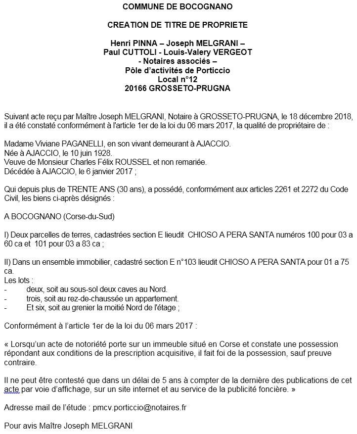 Avis de création de titre de propriété - commune de Bucugnà (Corse-du-Sud)