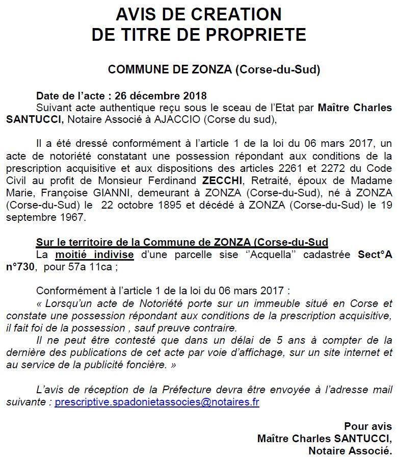 Avis de création de titre de propriété - commune de Zonza (Corse-du-Sud)