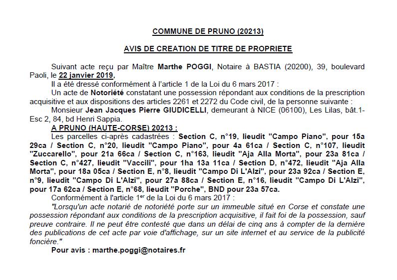 Avis de création de titre de propriété - commune de Pruno (Haute-Corse)