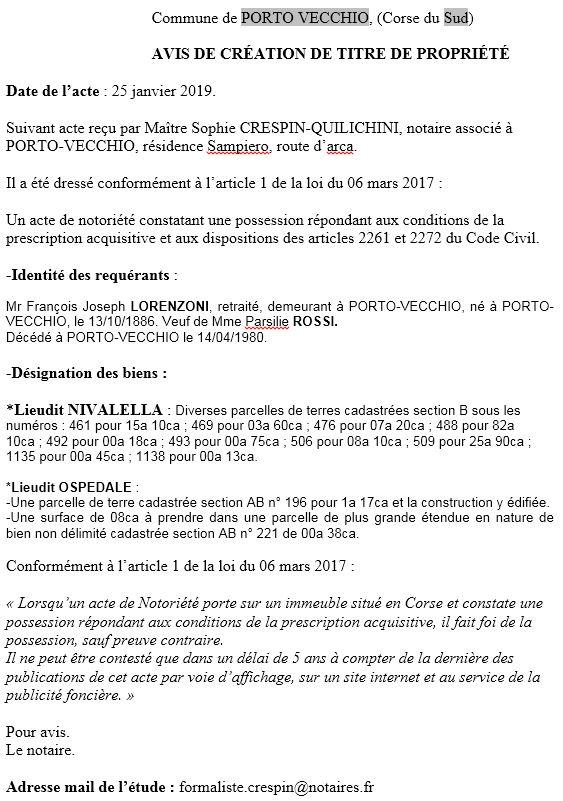 Avis de création de titre de propriété - commune de Porto-Vecchio