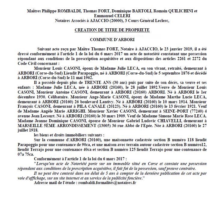 Avis de création de titre de propriété - commune d'Arbori (Corse-du-Sud)