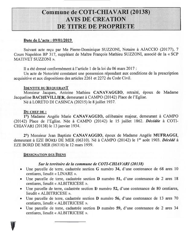 Avis de création de titre de propriété - communes de Coti-Chiavari et Campo (Corse-du-Sud)