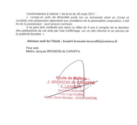Avis de création de titre de propriété - commune de Bastia (Haute-Corse)