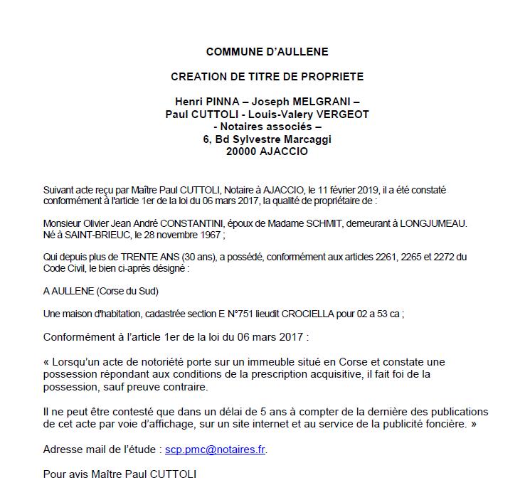 Avis de création de titre de propriété - commune d'Aullène (Corse-du-Sud)