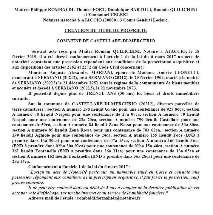 Avis de création de titre de propriété - commune de Castellare-di-Mercurio (Haute-Corse)