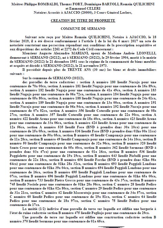 Avis de création de titre de propriété - commune de Sermano (Haute-Corse)