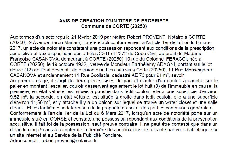 Avis de création de titre de propriété - commune de Corte (Haute-Corse)