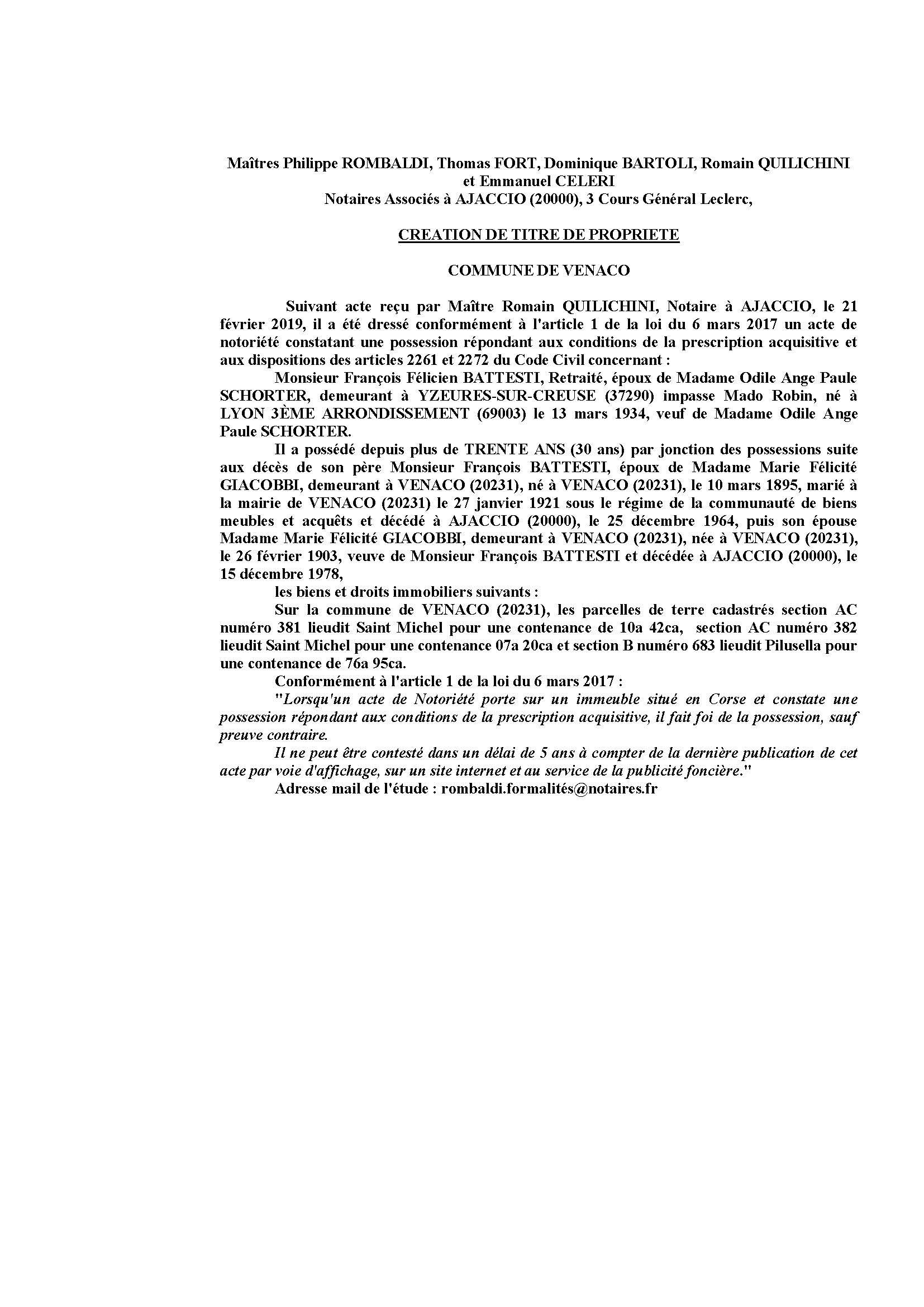 Avis de création de titre de propriété - commune de Venaco (Haute-Corse)