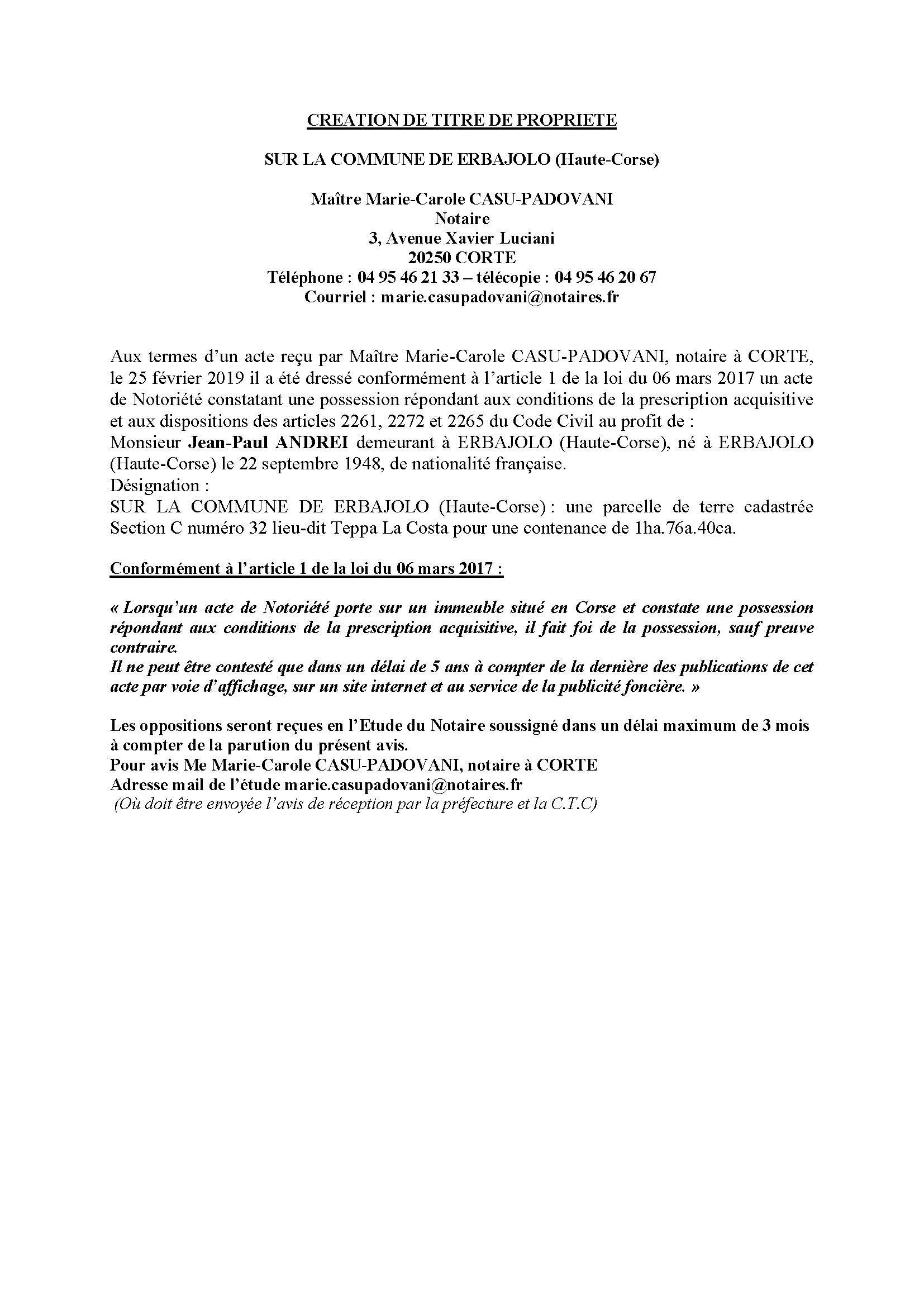 Avis de création de titre de propriété - commune de Erbajolo (Haute-Corse)
