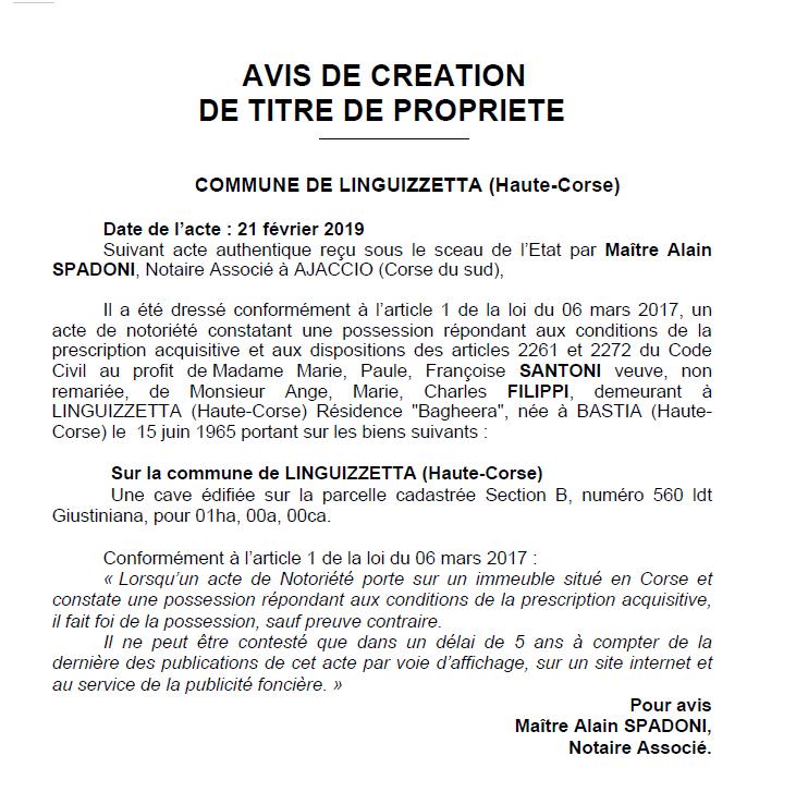 Avis de création de titre de propriété - commune de Linguizzetta (Haute-Corse)
