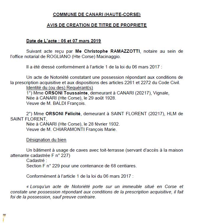 Avis de création de titre de propriété - commune de Canari (Haute-Corse)