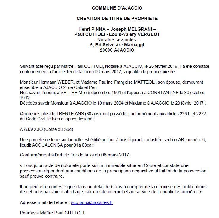 Avis de création de titre de proprieté - commune d'Ajaccio (Corse-du-Sud)
