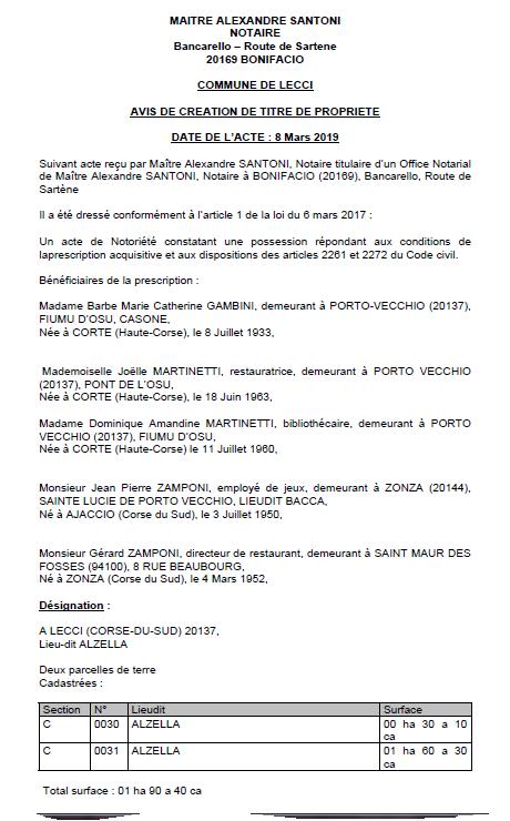 Avis de création de titre de propriété - commune de Lecci (Corse-du-Sud)