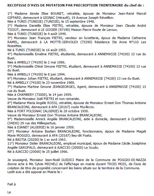 Avis de création de titre de propriété - commune de Prunelli-di-Fiumorbu (Haute-Corse)