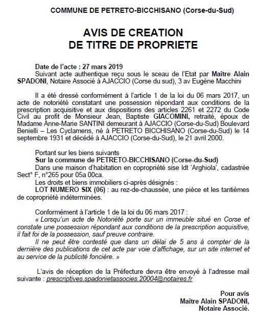 Avis de création de titre de propriété - commune de Petreto-Bicchisano (Corse-du-Sud)
