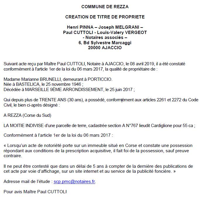 Avis de création de titre de propriété - commune de Rezza (Corse-du-Sud)